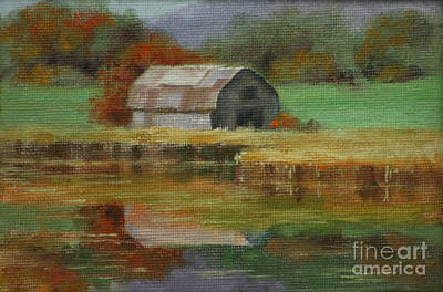 Autumn Barn Art Print by Linda Eades Blackburn