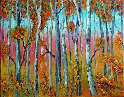Autumn Birches. Palette Knife Oil Painting. No Brush. Art Print