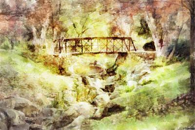 Digital Art - Autumn Bridge by Francesa Miller
