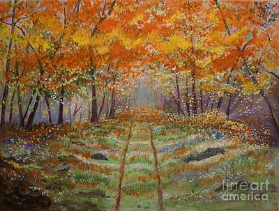 Painting - Autumn Country Road by Leslie Allen