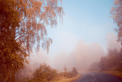 Autumn Fairytale. Misty Roads Of Scotland  Art Print by Jenny Rainbow