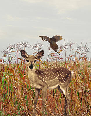Pheasant Digital Art - Autumn Fawn by IM Spadecaller