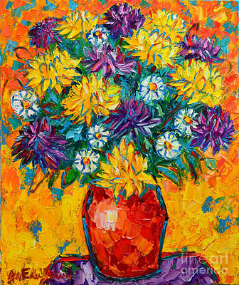 Autumn Flowers Gorgeous Mums - Original Oil Painting Print by Ana Maria Edulescu