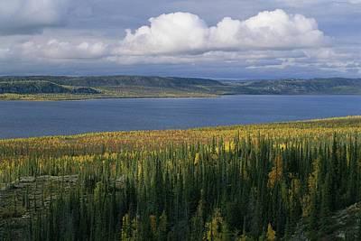 Willow Lake Photograph - Autumn Foliage Surrounds Campbell Lake by Raymond Gehman