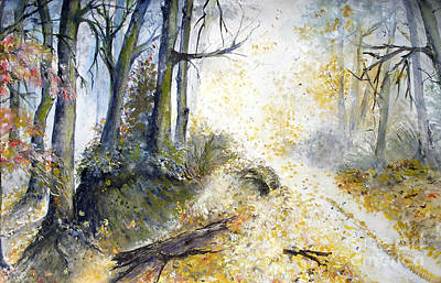 Painting - Autumn Forest Glade by Sibby S