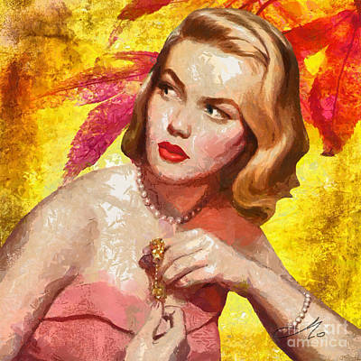 Lips Digital Art - Autumn Girl by Mo T