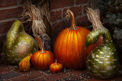 Autumn - Gourd - Family Get Together Art Print by Mike Savad