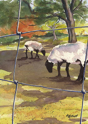 Sheep Painting - Autumn Graze by Marsha Elliott