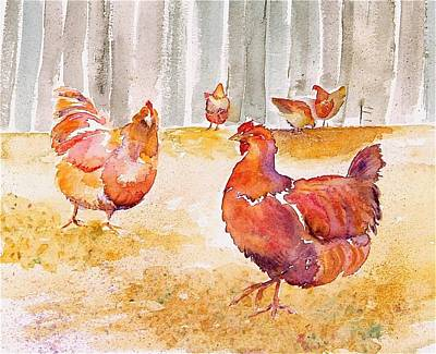 Autumn Hens Art Print by Carolyn Doe
