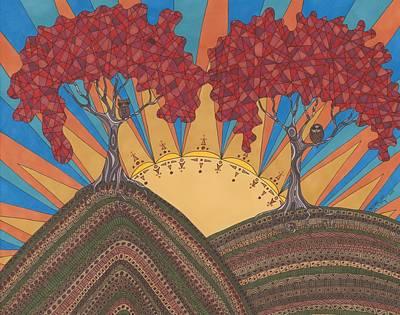 Autumn Landscape Drawing - Autumn Joy by Pamela Schiermeyer