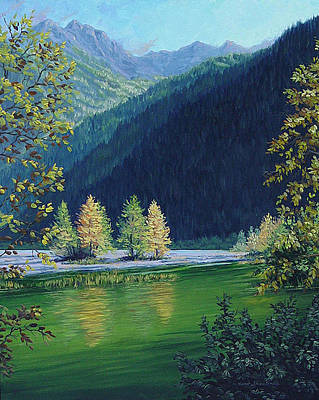 Art Print featuring the painting Autumn Knik River by Kurt Jacobson