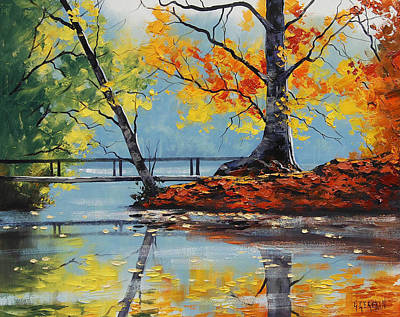 Elm Painting - Autumn Lake by Graham Gercken