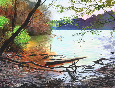 Painting - Autumn Lake by Sergey Zhiboedov