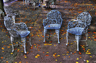 Autumn Leaves And Chairs In Liberty Island Original by Randy Aveille