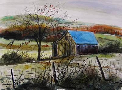 Old Barn Drawing - Autumn Light By John Williams by John Williams