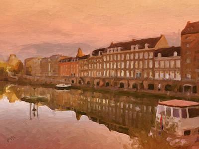 Digital Art - Autumn Light Over The Bassin Maastricht by Nop Briex