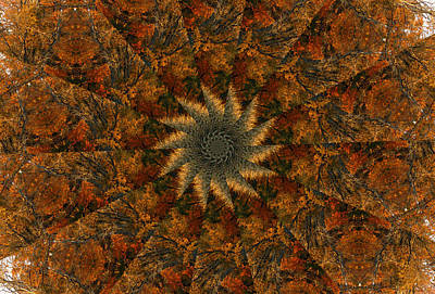 Digital Art - Autumn Mandala 7 by Rhonda Barrett