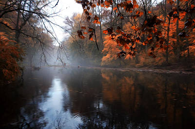 Phillies Digital Art - Autumn Morning By Wissahickon Creek by Bill Cannon