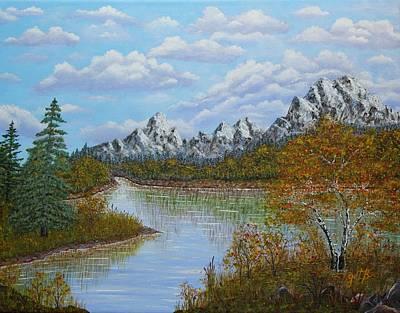 Autumn Mountains Lake Landscape Original by Georgeta  Blanaru