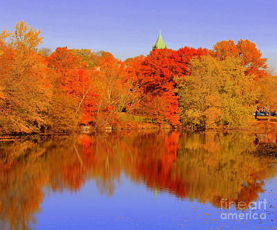 Autumn  On Mystic Lake Art Print
