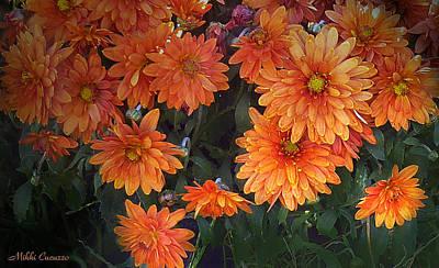 Autumn Orange Flowers Art Print by Mikki Cucuzzo