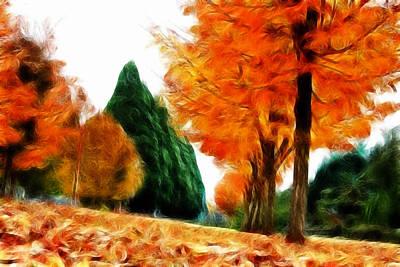Pathway Digital Art - Autumn Perspective by Kami McKeon