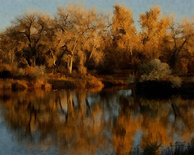 Autumn Reflections Painterly Art Print by Ernie Echols