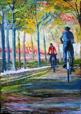 Two Bicycles Painting - Autumn Ride In France by Gerard Mignot