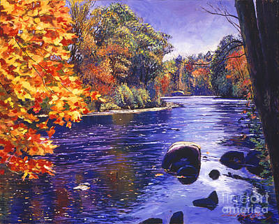 Colored Leaves Painting - Autumn River by David Lloyd Glover