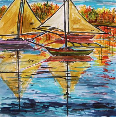 Autumn Sailboats Art Print by John Williams
