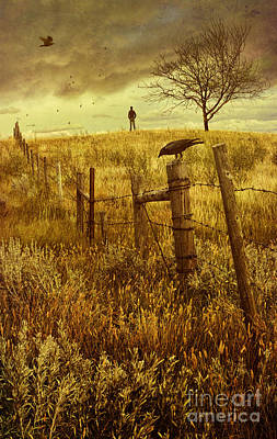 Photograph - Autumn Scene On The Prairies With Man Standing On Hill  by Sandra Cunningham