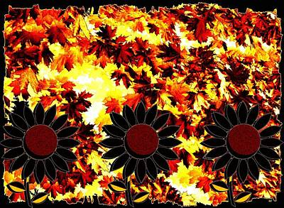 Digital Sunflower Mixed Media - Autumn Serenade by Will Borden