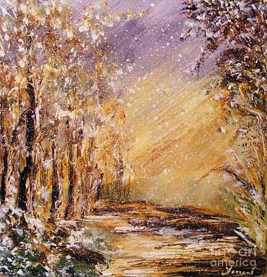 Art Print featuring the painting Autumn Snow by Karen  Ferrand Carroll
