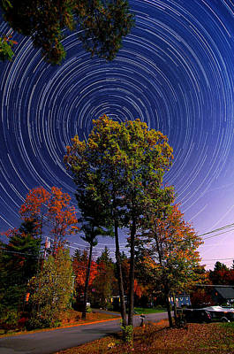 Autumn Star Trails In New Hampshire Art Print by Larry Landolfi