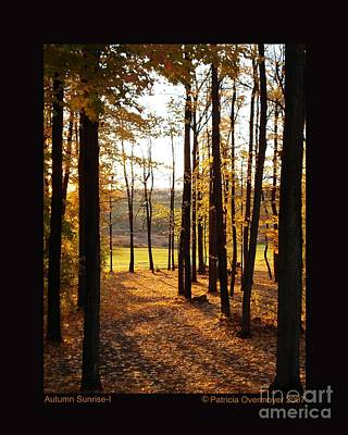 Autumn Sunrise-i Art Print by Patricia Overmoyer