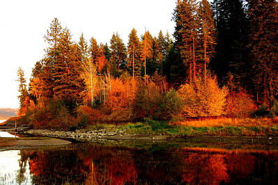 Art Print featuring the photograph Autumn Sunset At Lake Coeur D'alene by Cindy Wright