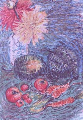 Flower Still Life Mixed Media - Autumn Vegetables And Flowers by Trudy Brodkin Storace