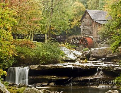 Autumn Waterfall Glade Creek Grist Mill Art Print