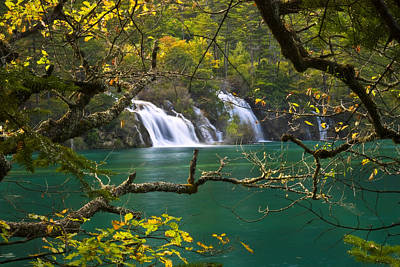 Waterfall Photograph - Autumn Waterfall by Ng Hock How