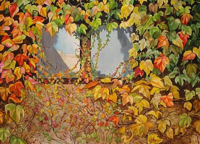 Grapeleaves Painting - Autumn Window Treatment by Carrie Auwaerter