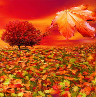 Red Maple Trees Digital Art - Autumnal Scene by Lourry Legarde