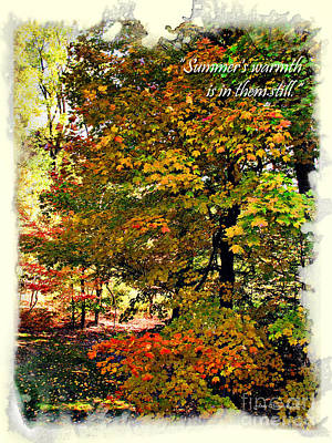 Photograph - Autumn's Warmth Inspiration Quote by Joan  Minchak