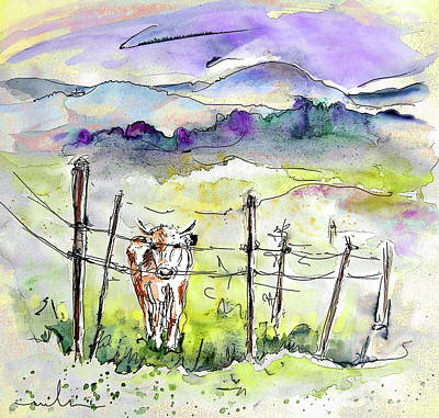 Rural Scene Drawing - Auvergne 01 In France by Miki De Goodaboom