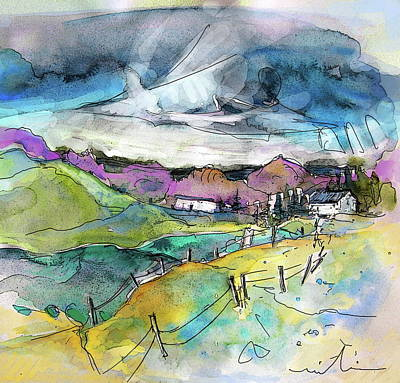 Rural Scene Drawing - Auvergne 02 In France by Miki De Goodaboom