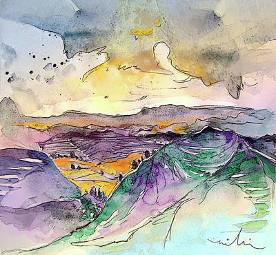 Rural Scene Drawing - Auvergne 03 In France by Miki De Goodaboom