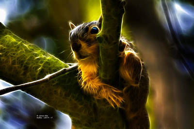 Digital Art - Awww Shucks- Fractal - Robbie The Squirrel by James Ahn