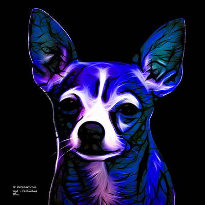Chihuahua Digital Art - Aye Chihuahua - Blue by James Ahn