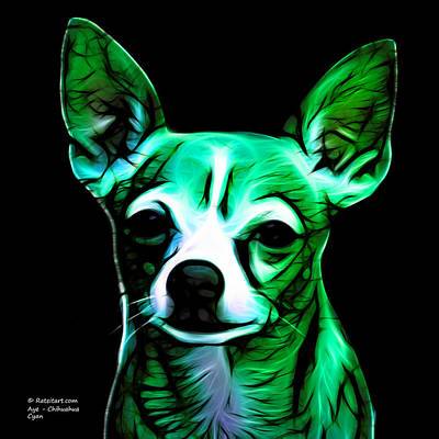 Chihuahua Digital Art - Aye Chihuahua - Cyan by James Ahn