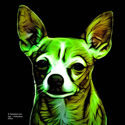 Chihuahua Digital Art - Aye Chihuahua - Green by James Ahn