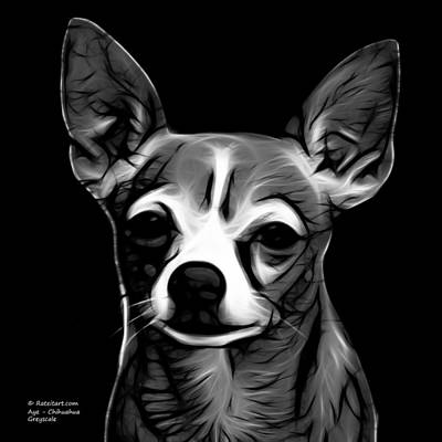 Chihuahua Digital Art - Aye Chihuahua - Greyscale by James Ahn